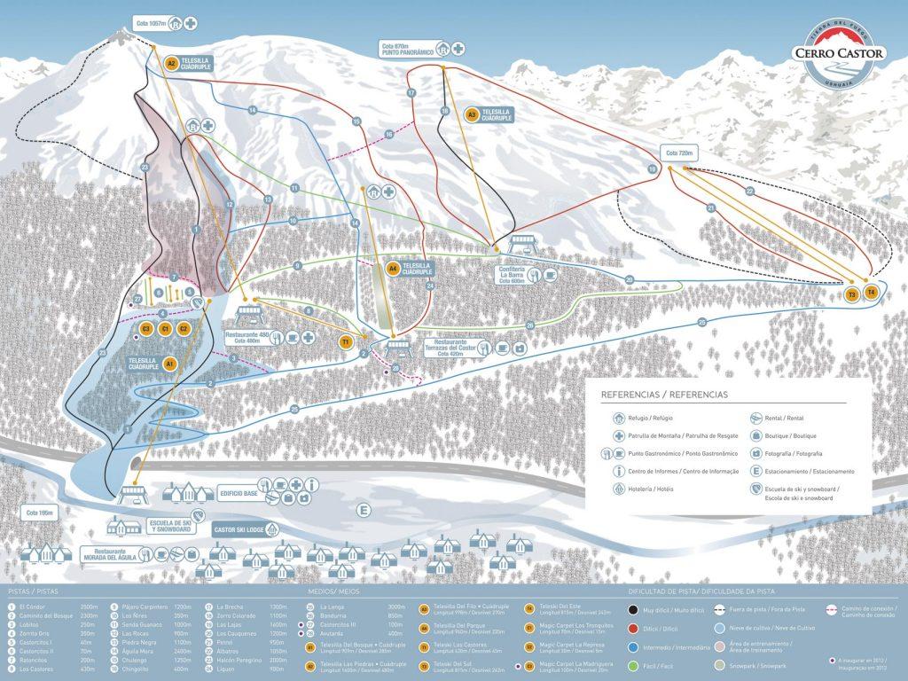 Mapa de Pistas de Cerro Castor - Completo