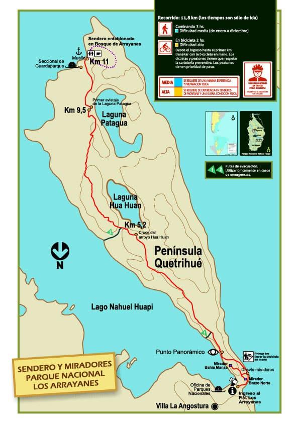 Mapa Senderos y Miradores Quetrihué, Parque Nacional Los Arrayanes, Villa la Angostura, Neuquén