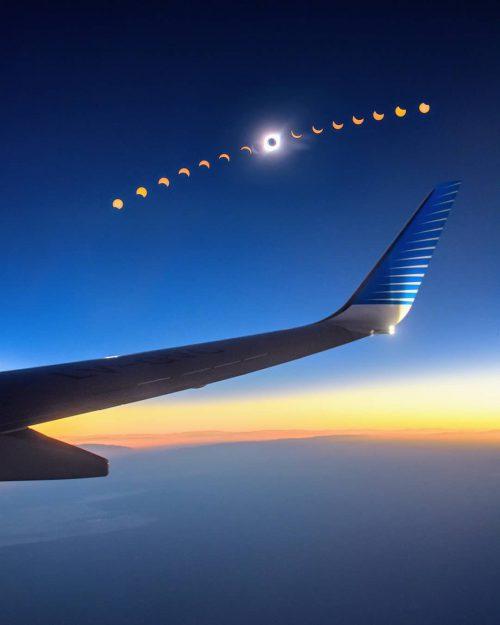 Así se vivió el eclipse en pleno vuelo de Aerolineas Argentinas